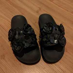 Tory Burch black slip-on sandals